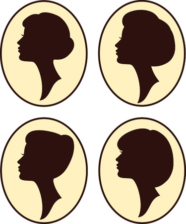 mujeres hermosas y siluetas de chica con diferente peinado, establecer