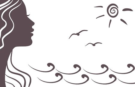 Girl silhouette on vacation Vector