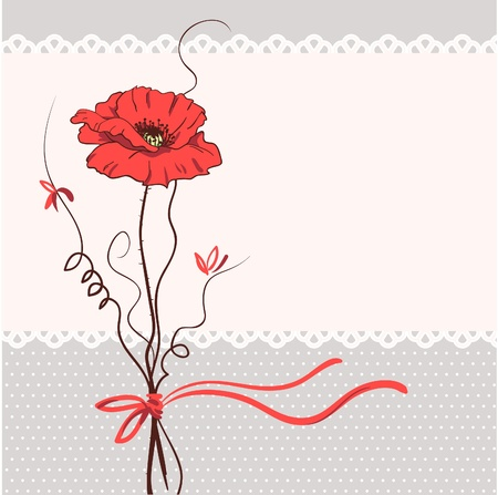 Red poppy floral card background  Vector