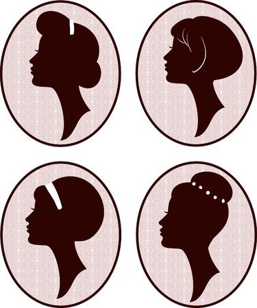 mooie vrouwen en meisje silhouetten met verschillende kapsel, instellen