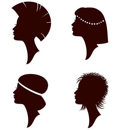 subculture: beautiful women and girl silhouettes with different hairstyle, set Illustration