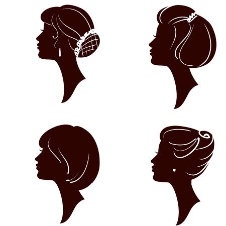 sexy brunette woman: beautiful women and girl silhouettes with different hairstyle, set Illustration