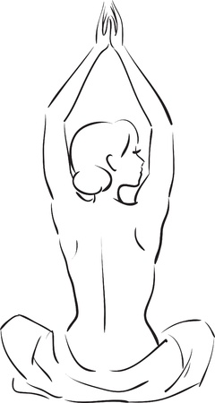 Rear view of a sexy woman sitting while practicing yoga isolated on a white  Illustration