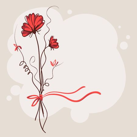 Red flower vector card background  Vector