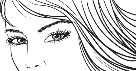 black and white line drawing: beautiful girl eyes and light long hair