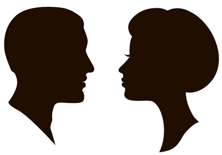 male face profile: man and woman faces vector profiles  Illustration
