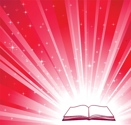 Open book and red bright background  Vector