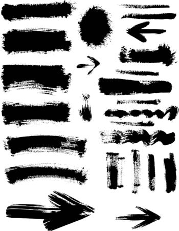 grunge: Grunge blots, spots, frame and arrows