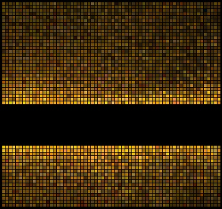 Multicolor abstract lights gold disco background. Square pixel mosaic vector Vector