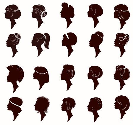 hairdo: Vector set di ritratto sagoma di bella donna con acconciature (dal mio grande
