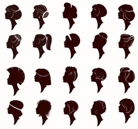 retratos: Vector set of silhouette portrait of beautiful woman with Hairstyles (From my big  Ilustra��o