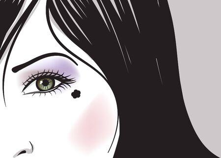 green hair: girl green eye part of face vector illustration Illustration