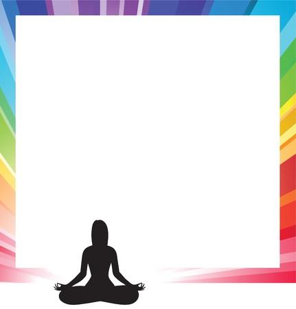 astral body: formulario de anuncio con la ilustraci�n de la silueta de una figura de mujer haciendo meditaci�n  Vectores