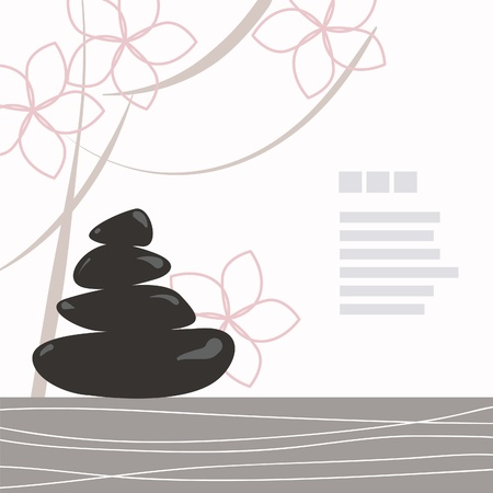 asia nature: Spa background of black pebble decorated with flowers