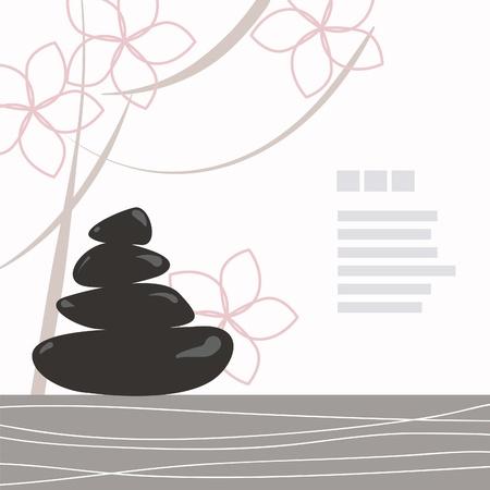 stein schwarz: Spa-Hintergrund aus schwarz Kiesel mit Blumen verziert Illustration