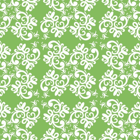 repeat square: ornate vector green white seamless pattern