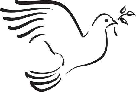 Vector white dove with branch Vetores