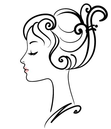 taglio capelli: illustrazione vettoriale di bella ragazza faccia  Vettoriali