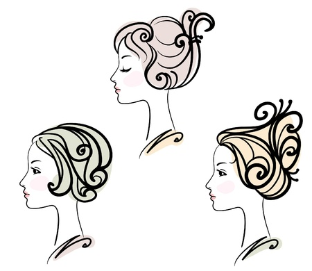 hairstyling: portrait of three female with stylised hairstyles