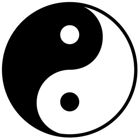 Ying yang symbool van harmonie en evenwicht, vector illustratie
