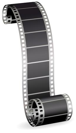 rollo pelicula: tira de la película retorcida rollo de fotos o video sobre ilustración vectorial de fondo blanco Vectores