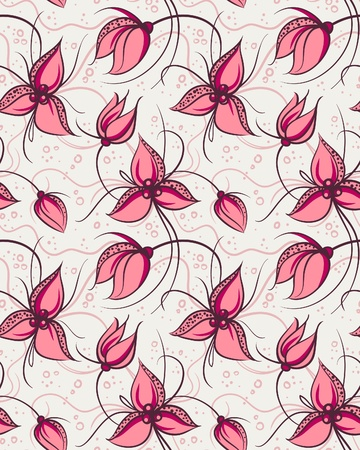 Seamless pattern red orchid flowers  Illustration