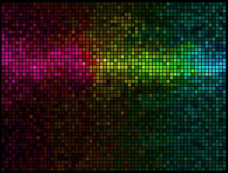 discotheque: Multicolor abstract lights disco background. Square pixel mosaic vector