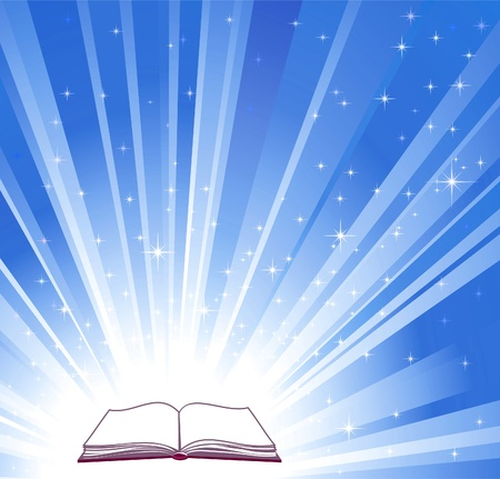 and shining: Open book and blue bright background, vector illustration Illustration