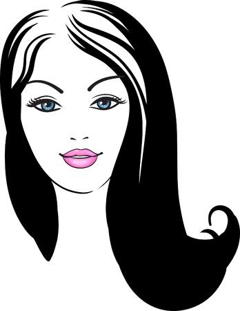 icône de la jeune fille visage mode vecteur