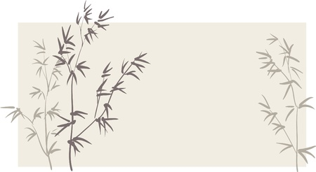 Chinese bamboo branches on horizontal background Vector