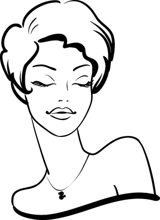 hairy girl: fashion female portrait with closed eyes