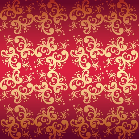 red seamless floral background Vector