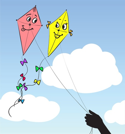 Two kites in the sky Stock Vector - 10697299