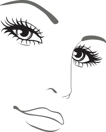 美しい女性の顔の肖像画