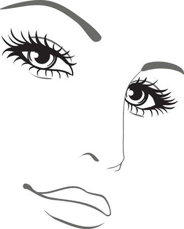 beautiful woman face portrait  Vector