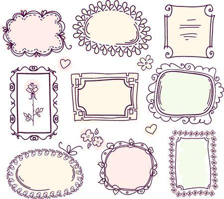 cute doodle: cute doodle floral frame set
