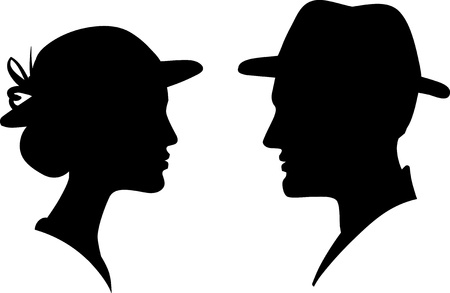 head silhouette: man and woman face profile silhouette, male female couple  Illustration