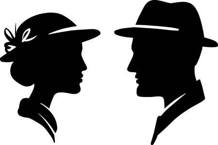 male symbol: man and woman face profile, male female couple