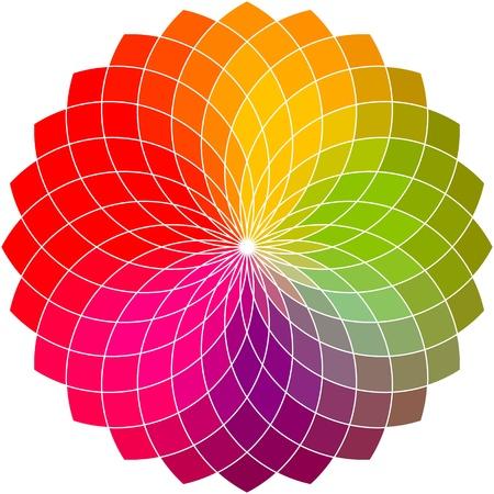 色の花のベクトルのホイール