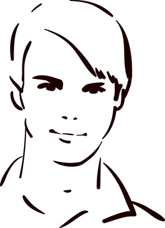 nice guy: Attractive young man face, beautiful fashion model Illustration