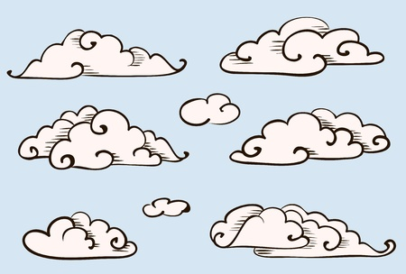 Clouds set, vintage vector stylized drawing Stock Vector - 11272419