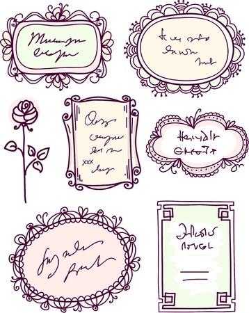 cute doodle: cute doodle floral vector frame set