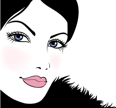 Portrait attractive beautiful girl wearing black fur, vector illustration Vector