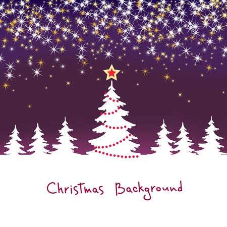 Christmas sparkle  background with tree Vector