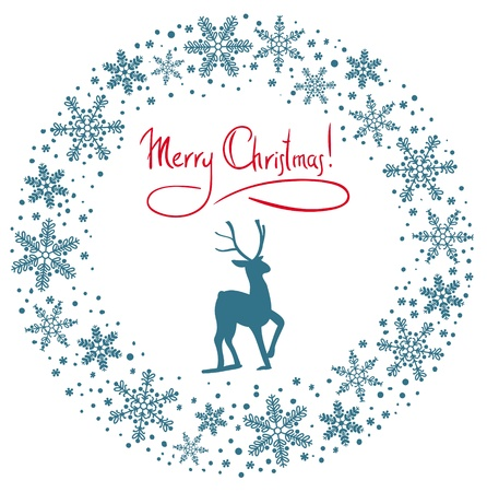 bonny: Christmas snow garland background with deer