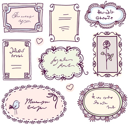 cute doodle floral vector frame set  Vector