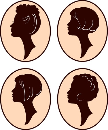 visage femme profil: les femmes belles et vecteur silhouettes fille avec la coiffure différente, mis en Illustration