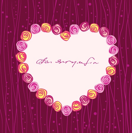 vector roses heart frame  Vector