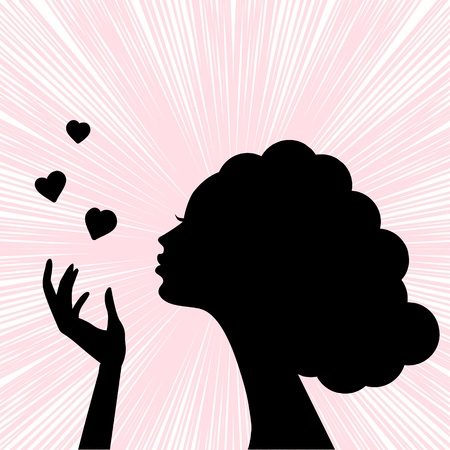 woman blowing: beautiful woman face silhouette with heart kiss