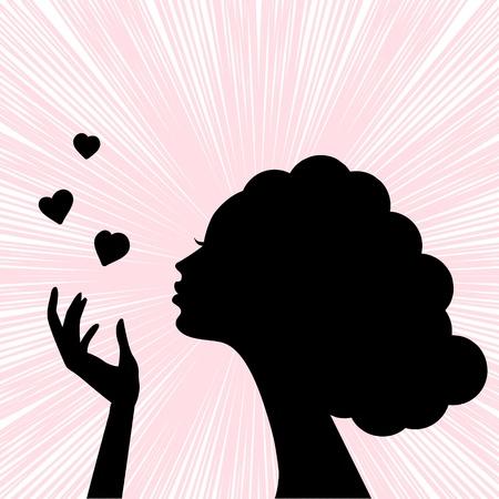 african woman face: bella faccia silhouette donna con il cuore bacio Vettoriali